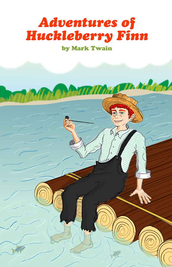Book cover of Adventures of Huckleberry Finn written by Mark Twain